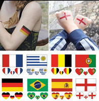 Wholesale stickers for tattoos - 2018 World Cup Tattoo Sticker 48Pcs Country Flag Tattoo Stickers Removable Tattoos Sticker for Face Body EEA253 600PCS