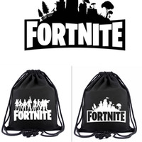 Wholesale drawstring bags backpack black - 2 colors Game Fortnite Printed Drawstring Bag students Canvas Backpack casual travel Beach bags 40*34cm MMA235