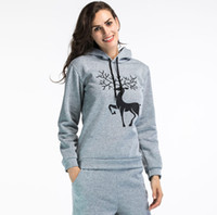 Wholesale Large Christmas Deer - New Winter Christmas Sweater T-shirt Long Sleeve Hooded Hoodie Snow Deer Printing Large Size Women Hoodie