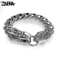 ingrosso braccialetto d'argento d'argento dell'annata-Mens Biker Sterling 925 Silver Dragon Curb Bracciale a catena Thai Vintage Style Dragon Link Handcrafted Punk Bracciale uomo Bracciale