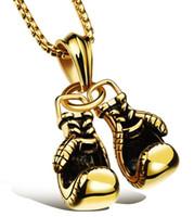 boxhandschuhe design großhandel-Halskettenhalskette des Edelstahls, Art und Weiseboxhandschuhentwurf Mens-Hip-Hop-Punkarthalskette geben Verschiffen frei