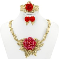 italienischer schmuck gold überzogen großhandel-2017 neue Italienische klassische vergoldet rose schmuck set Afrikanische Dubai frauen party pop schmuck set halskette ohrringe