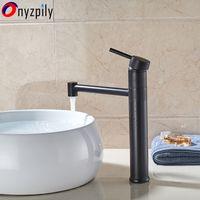 ingrosso rubinetti a mano singola in bronzo-Maniglia fredda del rubinetto della maniglia della maniglia del bacino del bronzo nero lucidato acqua fredda calda