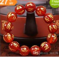mann reines gold armband großhandel-Reine natürliche Armband weibliche böse Geister Männer Transfer Perlen rot Achat sechs Worte Armband Schmuck 10MM