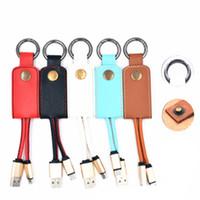 cargador llavero universal al por mayor-Cable de cuero Lanyard Metal Keychain 2A USB cargador rápido para Samsung S7 S8 teléfono Android