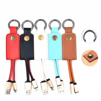 Wholesale keychain micro usb charger - Leather Lanyard Metal Keychain 2A USB fast Charger Data Cable for samsung S7 S8 Android phone