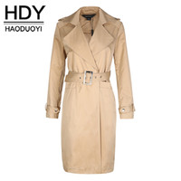 Wholesale ladies trench coat white - HDY Haoduoyi Fashion Drawstring Coats Women Long Sleeve Female Longline Outwear Solid Turn-down Collar Ladies Trench Coats
