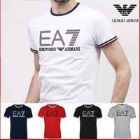 мужские рубашки лучших дизайнеров оптовых-Бестселлер лето Марка футболка дизайнер печатных письмо хлопок с коротким рукавом роскошные футболки для мужчин. И EA7