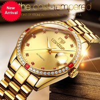 Wholesale Complete Machinery - 2018TEINTOP Gold Stainless Steel Luxury Men's Watch 30M Waterproof Calendar Business Men Machinery Wristwatch Relogio Masculino
