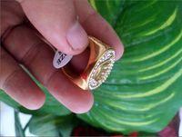 4.75 bandringe großhandel-18k vergoldet Edelstahl Ehering für Liebhaber IP Gold Farbe Kristall CZ Paar Ringe Set Männer Frauen Engagement Trauringe