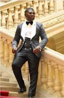 Wholesale navy blue costumes - 2018 Costume Homme Fashion Black White Lapel Men Dots Wedding Suit Tuxedo Groom Wedding Party Suits For Men Bridegroom Groomsmen