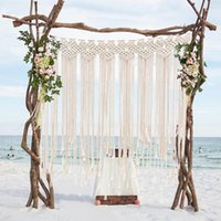 Wholesale Boho Decorations for Wedding Party Photo Booth Backdrop Cotton Rope Macrame Wall Hanging Bohemian Tassel Curtain for Home Room x100 cm