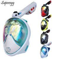 Wholesale spearfishing equipment resale online - Full Face Diving Mask Anti fog Snorkeling Mask Underwater Scuba Spearfishing Children Adult Glasses Training Dive Equipment