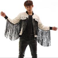 Wholesale leather stage clothes - Black white patchwork tassel leather jacket men rivets coat clothes jaqueta de chaqueta cuero hombre korean singer dance stage