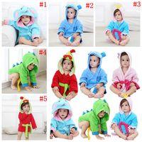 Wholesale toddler animal robe - Baby Kids Toddler Animal Cartoon Hooded Bath Towel Cute Bathrobe Wrap Bathing Robe 5 Styles 50pcs OOA4922