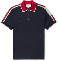 мужские рубашки поло оптовых-19SS HOT Мужская полоса логотип черепа рубашки поло летняя мода Calssic одежда с коротким рукавом Повседневная твердые мужские футболки поло