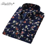 ropa de marca whosale al por mayor-DAVYDAISY Hombres Camisa de Manga Larga Moda Floral Impresión Camisas Masculinas Ropa de marca Camisa Casual hombre camisa masculina DS004 Y1892102