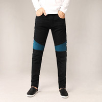 Wholesale Spliced Jeans - Fashionable men's HR foreign trade black jeans trousers motorcycle riding motorcycle men wash old trousers casual jeans cloth fashion splice