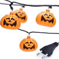 Discount halloween lanterns pumpkin - Explosion Christmas Lantern Halloween Pumpkin Light Party Decoration Plug-in 1 Set Pumpkin 10 LED String Lights Quality
