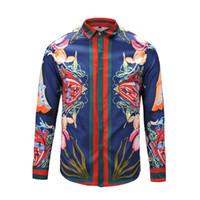 cores longas camisetas venda por atacado-2018 Medusa Camisas De Homens Floral Imprimir Mistura de Cor de Luxo Casual Camisas Harajuku Mangas Compridas dos homens M-2XL