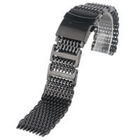 relógio de tubarão de luxo venda por atacado-Luxo 20/22/24mm shark malha relógio banda homens substituição preto de aço inoxidável pulseira preta moda pulseira