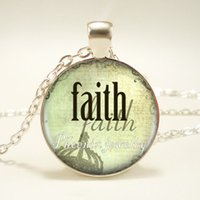 Wholesale Christmas Art Pictures - 12pcs lot Faith Quote Picture Necklace Statement Silver Pendant Dome Necklace Religious Christian Art Jewelry Round Glass Necklace