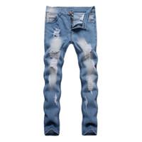 ingrosso pantaloni per il design degli uomini-018 Hot New Hot Sale Uomo Design strappato pantaloni blu denim buco distrutto stile jeans da motociclista slim pantaloni personalità maschile