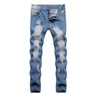 sıska kot pantolon satışı toptan satış-018 Sıcak Yeni Sıcak Satış Erkekler Tasarım Mavi Denim Pantolon Yırtık Delik Tahrip Tarzı Ince Biker Jeans Erkek Kişilik pantolon