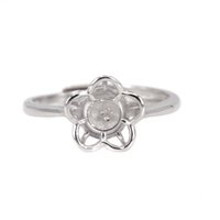 8mm runder ring großhandel-5-8mm Perle oder Runde Perle Verlobung Hochzeit Semi Mount Ring für Frauen 925 Sterling Silber Ring DIY Stein Einstellung