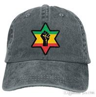 afrikanische hüte großhandel-pzx @ Baseball-Cap für Männer und Frauen, African Power Black Roots Ethiopian Reggae Herren Cotton Adjustable Denim Cap-Hut