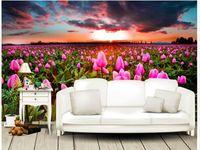 ingrosso tulipano murale-Personalizzato Any Size Mural Wallpaper TV Sfondo originale Beautiful Pink Tulip Flower Field TV sfondo muro