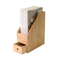 natürliche bücher großhandel-Bambus Büro Aktenregal Schreibtisch Organizer mit Schublade Arbeitszimmer Bücherregal A4 Papier Lagerung Inhaber Eco Natürliche Aufbewahrungsbox
