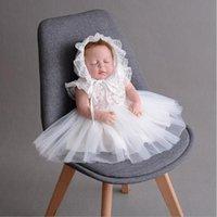 yeni doğmuş elbiseler toptan satış-Yeni Doğan Bebek Kız Bebek Dressclothes Yaz Çocuklar Parti Doğum Günü Kıyafetleri 1-2years Ayakkabı Set Hediye olarak Vaftiz Elbisesi Bebek