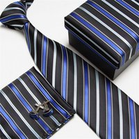 kravat seti hırka kol düğmesi toptan satış-Erkek Kravatlar Cep Kare Kol Düğmeleri Set Çizgili Boyun Kravat Mendil Jakarlı Kravat Mendilleri Ile Hediye Kutusu