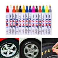 Wholesale car paint pens resale online - Colorful Waterproof Pen Car Tyre Tire Tread CD Metal Permanent Paint markers Graffiti Oily Marker Pen Car Styling
