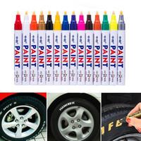 marcadores de metal al por mayor-Colorido Impermeable Pluma Neumático de automóvil Neumático Pisada CD Metal Pintura permanente Marcadores Graffiti Grasa Marcador Car Styling