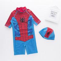 siamese şapkası toptan satış-Erkek Siyam Swim Suit + Şapka Superman Spiderman Karikatür Baskı Mayo Çocuk Sıcak Spa Plaj Kıyafeti 2 renk freeshipping