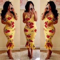 ingrosso abiti gialli-Casual Strap Deep V Neck Floral Women Bodycon Abiti senza maniche String Yellow Long Print Dress Vestidos Trumpet