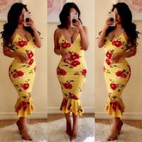 vestidos amarillos al por mayor-Correa ocasional Cuello en V profundo Mujer Floral Vestidos ajustados Sin mangas Cuerdas Amarillo Vestido estampado largo Vestidos Trompeta