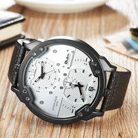 Discount big brown leather wrist watch - Oulm Adjustable Two Time Zone Men's Watch Luxury Brand Big Size Casual Leather Wrist Watches Man Sport Watch erkek kol saati