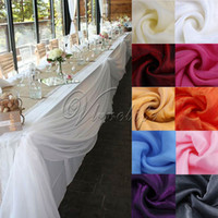 Wholesale table decoration party organza - 10m X 1 .4m Top Table Swags Sheer Organza Swag Fabric Wedding Party Bow Table Decorations Diy