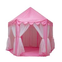 Wholesale playing girl tent - Princess Castle Play House Large Outdoor Kids Play Tent for Girls Pink