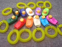 Pet Dog Trainer Clicker PetDog Cat Training Sound Key Ring And Wrist Strap Accessories Light Weight Toys Clickers