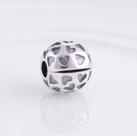 Wholesale sterling silver crimps - New 925 Sterling Silver Lock Clip Stopper Charm Beads Ball with Love Hearts, DIY Jewelry For Pandora Charm Bracelet KT069-N