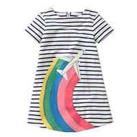 Wholesale cute clothes for baby girls - Girls Summer Applique Cotton Short Sleeves Casual Striped Dresses Cute Baby Dress for Party Princess Clothing