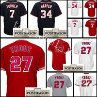 Wholesale Cheap Army Shorts - Men's #27 Mike Trout jersey Cheap 34 Bryce Harper 7 Trea Turner Stitched Baseball Jerseys wholesale Free Shipping