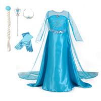 ingrosso guanti blu vestito-3-10T Costume da ragazza blu Princess Party Dress con corona bacchetta Guanto Braid Halloween Natale Cosplay vestiti per le neonate