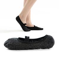 ingrosso bende di cotone-Calze yoga filo argento Calze anti-scivolo nero antiscivolo Pilates Calze balletto Presa calzini danza cotone femminile G519S