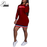 Wholesale mini hoodies - Gold Hands Fashion Women Spring Autumn Hoodie Dress Tunic Mini Loose Long Sleeve Shirt Sexy Letter-Printed Casual Dresses Cotton Pullovers