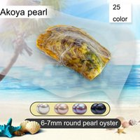 Wholesale animal vacuum - 2018 AAA DIY Seawater akoya oyster with Single pearls Mixed 25 colors Top quality Circle natural pearl in Vacuum Package For Jewelry Gift